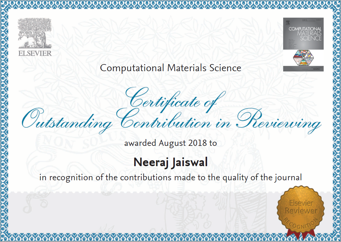 Outstanding Reviewer Contribution for Materials Chemistry and Physics